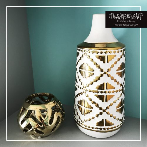 NAVAHO WHITE/GOLD VASE